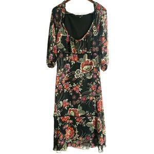 H&M Low Scoop 3/4 Sleeve Floral Dress